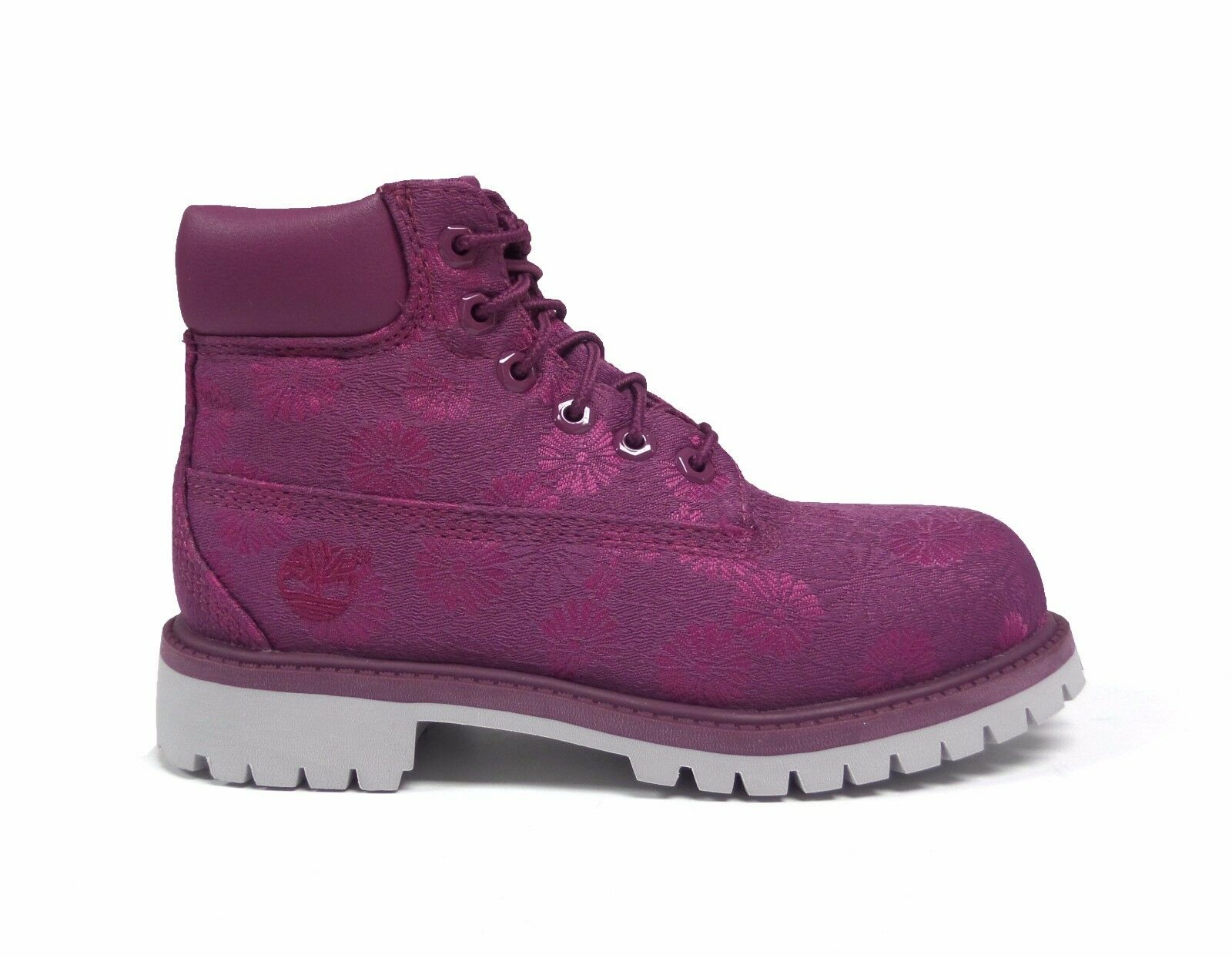 50dd3f6ad21 Tb0a197d524-510 Timberland Kids Girls 6 in Premium Waterproof Fabric Boot  13.5 Little Kid M Magenta Purple Floral Jacquard