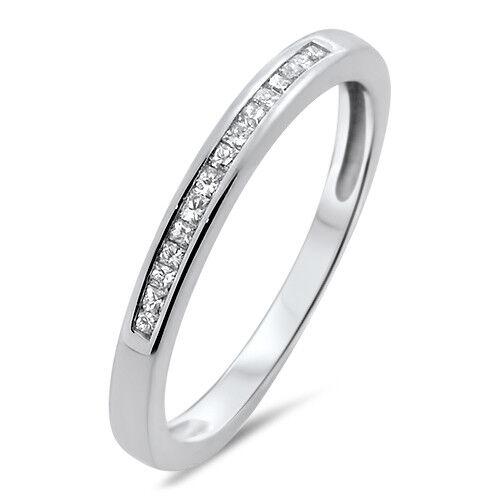 0.15ct Channel Set PrincessCut Diamond Half Eternity Wedding Ring,18K White gold