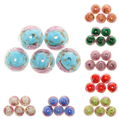 12mm Round Beads Glass Flower Lampwork Beads for Bracelet Jewelry Making
