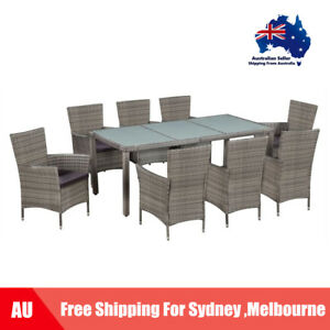 Outdoor Dining Set Poly Rattan And Gl Grey Table Chairs