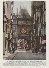 Rouen France Gros-Horloge or Great Clock Street Scene Photo 1943 Rare