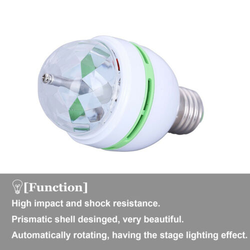RGB Led Boule de Cristal Rotatif Éclairage Scène Ampoules E27 3w Soirée Disco