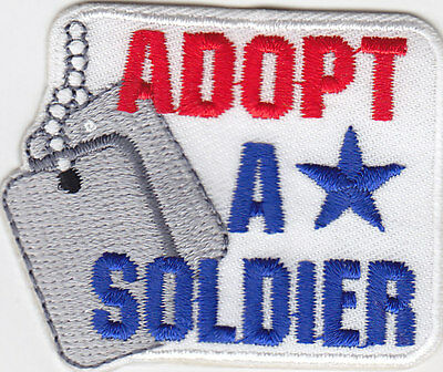 """adopt A Soldier""- Iron On Embroidered Patch - Military - Patriotic - Army"