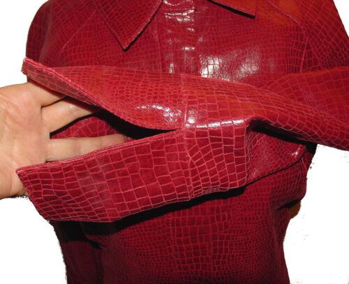 lynlås Snake mønster L læder Ægte foran Red skin New Aria Jacket y6q717