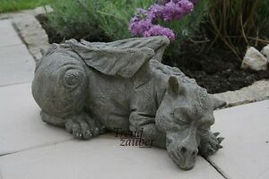 Original-Devonshire-Statuary-Drache-Snoozy-DS33-Steinfigur-massiver-Steinguss