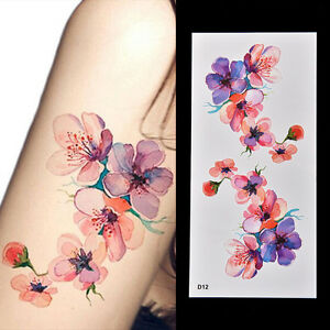 Women-Waterproof-TemporaryFakes-TattooSticker-Watercolor-Orchid-Arm-DIY-Decal-RS
