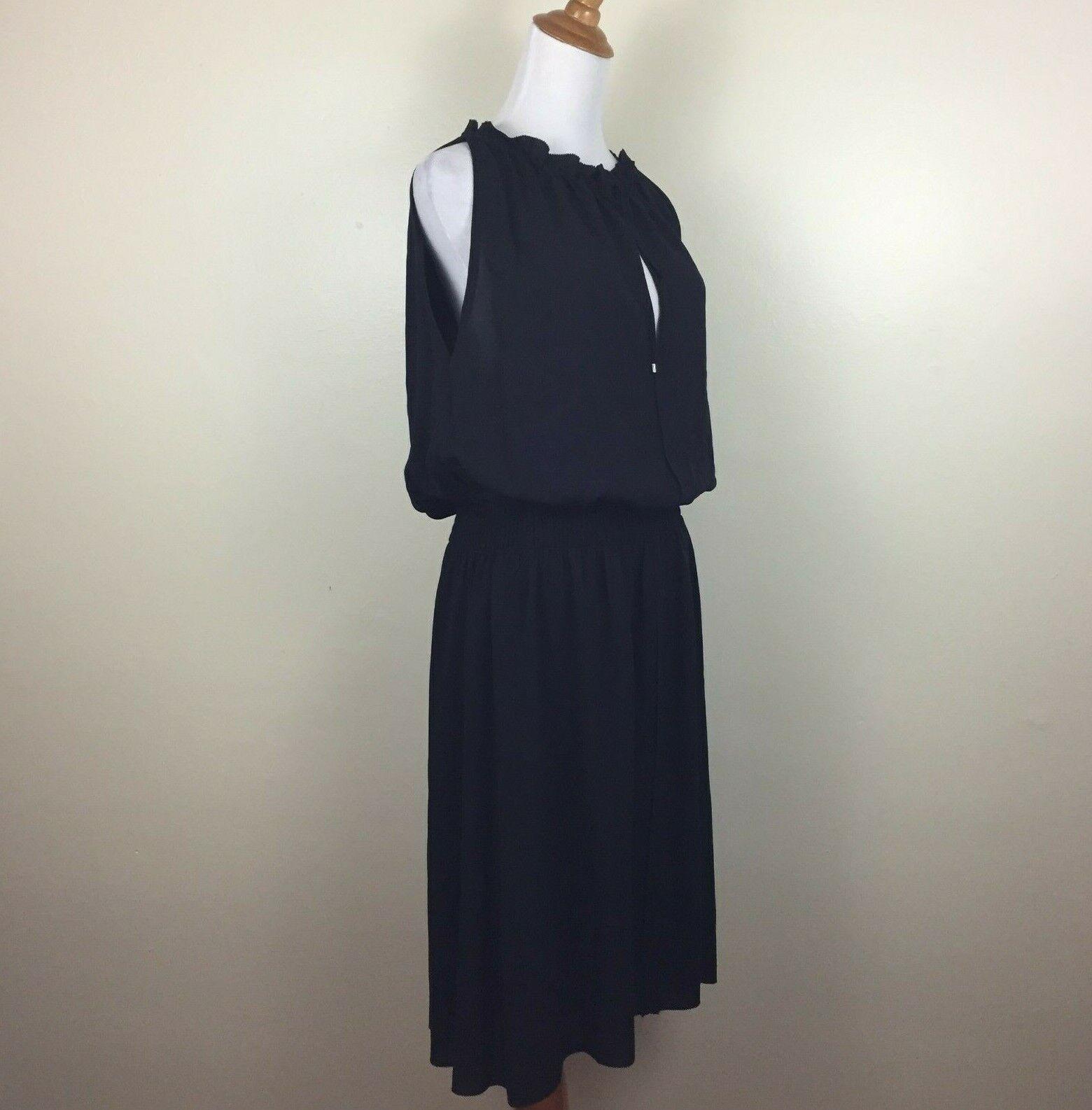 THEORY damen Sz 6 schwarz Keyhole Elastic Waist Sleeveless Dress