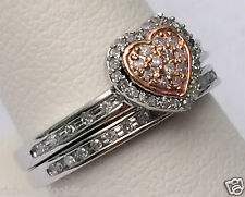 NEW Heart Shape Pave Diamonds Ring Set Bridal Engagement Wedding Band Rose Gold