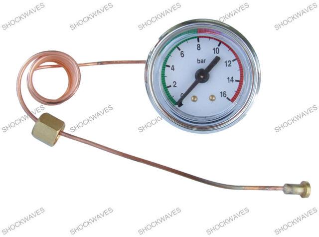Pressure Gauge Dial 16bar Coffee Machine Maker Manometer Brass Capillary R/G
