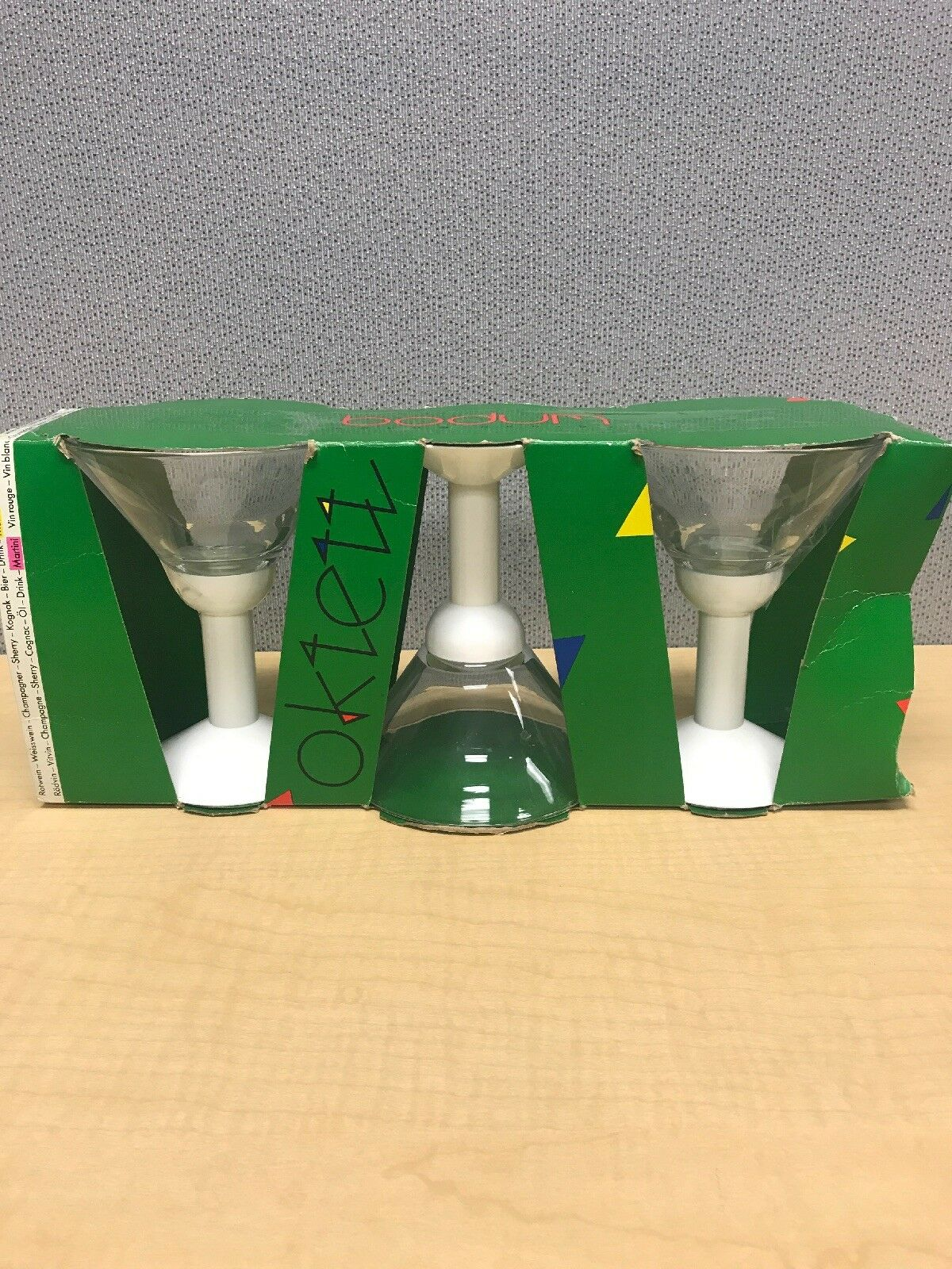 Bodum Oktett Martini Glass White 80s Style Vintage Glasses Set Of 3 Plastic Stem