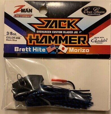 Z-Man CBJH38-06 Jack Hammer Chatterbait 3//8oz Black Blue 1 Pack