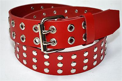 3 Reihe Flachnieten 4cm Breit 5 Farben Rind Leder Guertel Farbe & Länge Wählbar