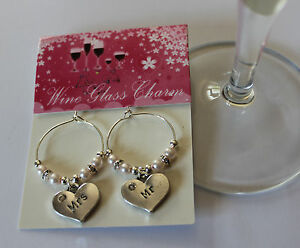 Wedding wine glass charms - wedding gifts / keepsake - Mr & Mrs/ Bride & Groom