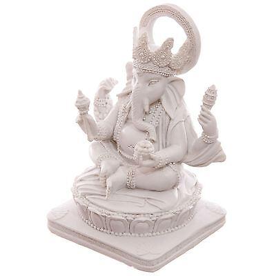White Ganesh Sitting 14cm Ganesha Idol Chandra Nadi Puja Pooja