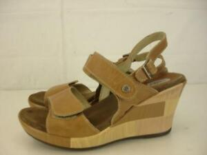 Womens-8-8-5-39-Wolky-Tan-Leather-Wedge-Sandals-Mary-Jane-Slingback-Adjustable
