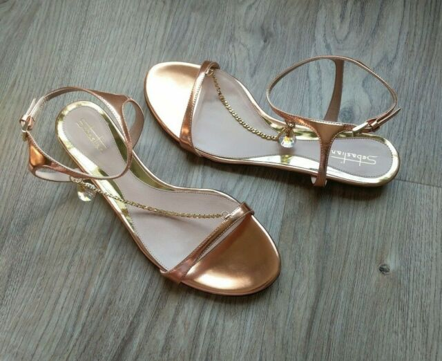Sebastian Milano Rose Gold Leather Sandals Womens 9 EU 39 Crystal Chain Ankle