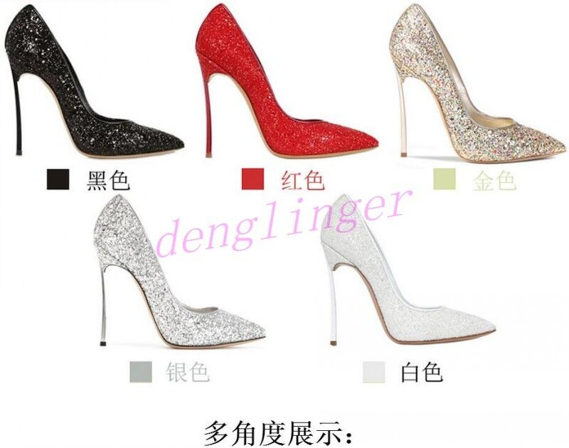 2018 Shiny Sequins Pointy Heel Stilettos Pumps Wedding Bride Shoes US Prom New