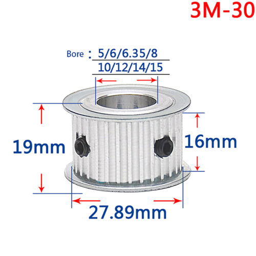 3M30T, Bore:14mm 3M 30T Pitch 3mm Tooth Width 16mm Timing Belt Pulley Synchronous Wheel Gear 14mm Bore