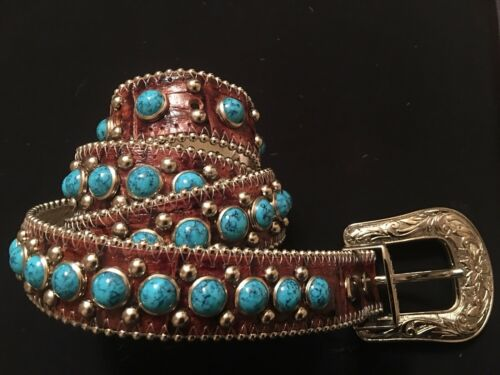 Authentic B.B Simon Turquoise and Leather Belt w/S