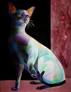 034-SIAMESE-SHADOW-1-034-Original-14-034-x19-034-Cat-Painting-ON-Canvas-by-Sherry-Shipley