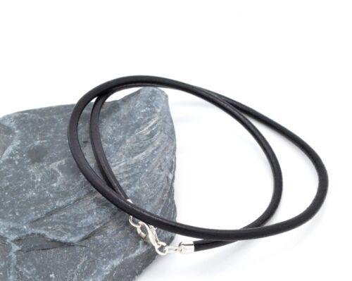 Cuero Negro con Pulsera de plata esterlina doble envuelto hechos a mano en el Reino Unido
