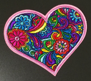 Heart-Flowers-Patch-Love-Peace-Hippie-Embroidered-Iron-Sew-On-Applique-Hippy