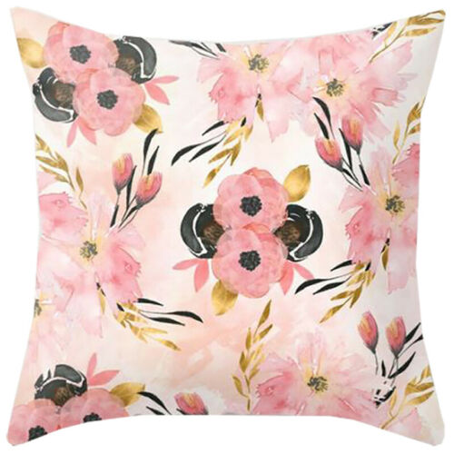 Flower Floral Polyester Pillow Case Sofa Throw Waist Cushion Cover Home Decor