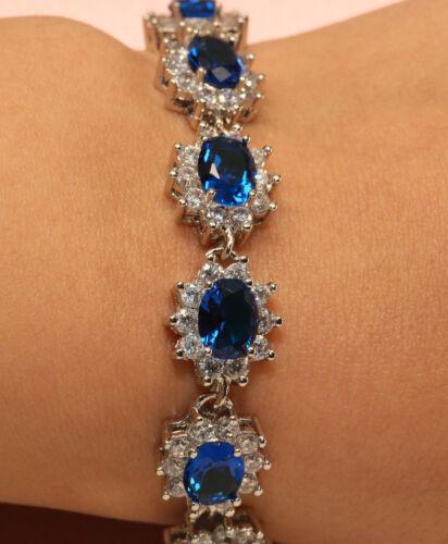 """18k White Gold Finish 4ct Blue Oval Diamond Tennis Bracelet 7.5/"""" for Women"""