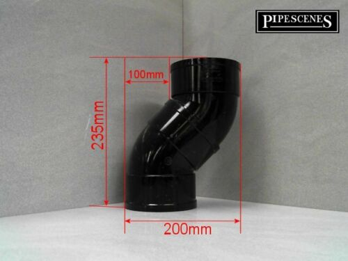 "Black Glued 4/"" ABS Vent Solvent 110mm Soil Pipe Offset Bends 45° SWAN NECK"