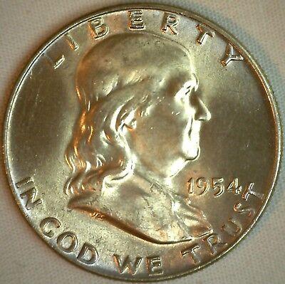 1954 D Franklin Silver Half Dollar Coin 50c US Uncirculated Denver Minted BU