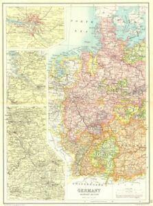 Hamburg Map Of Germany.Details About Western Germany Inset Hamburg Rhine Valley Cassells 1909 Old Antique Map