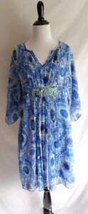 Chico's Size 0 Blue Pop Artsy Crinkle Chiffon Caftan Dress Beaded Embroidery