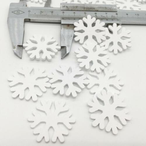 Wooden Snowflake Bauble Crafts Embellishment White 100 for Wedding Christmas