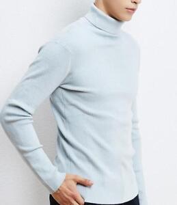 de caliente Hombres prendas coreano Slim invierno jersey alto Cuello punto suéter de Outwear Top Fit wwHq0pO