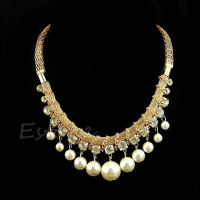 Women Fashion Big Jewelry Pearl Crystal Pendant Chunky Bib Chain Choker Necklace