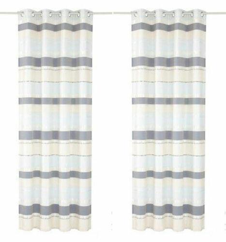 Vorhang 2 Stück MY HOME 225 x 140 creme bleu Ösen Jacquard Dekostore