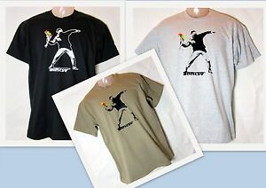 T-Shirt-Banksy-Flowerthrower-Blumenwerfer-S-XXL