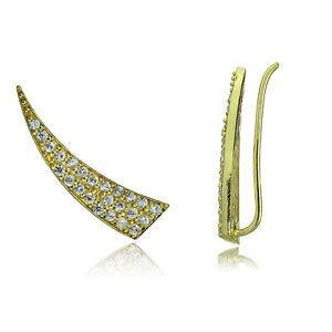 Gold-Tone-over-Sterling-Silver-Cubic-Zirconia-Horn-Crawler-Climber-Hook-Earrings