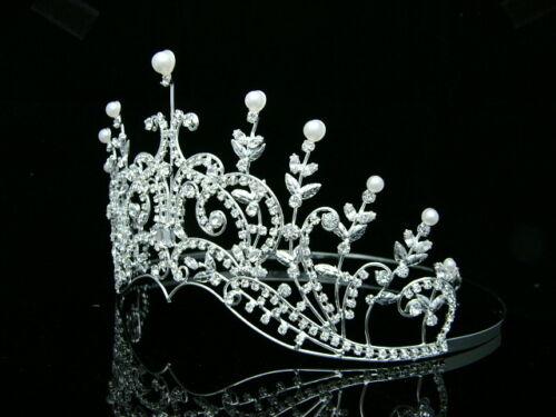Floral Bridal Pageant Rhinestone Crystal Pearl Wedding Crown Tiara 7419