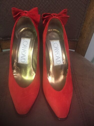 JOAN & DAVID RED SUEDE HEELS WITH BOW ON THE BACK