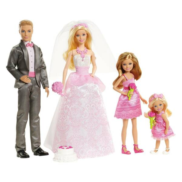 Barbie I Can Be A Bride Wedding Party 4 Doll Set Ken