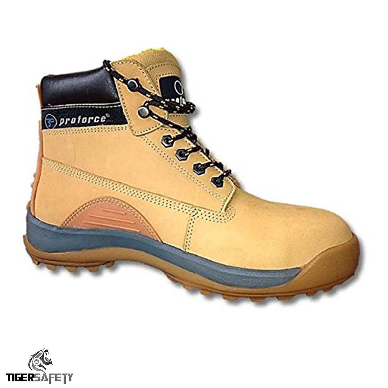 Proforce FW35 S1 in Pelle Nabuk Miele in Acciaio Puntale Stivali Di Sicurezza Lavoro Stivale PPE