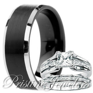 Image Is Loading His Mens Black Tungsten Her Womens 925 Sterling