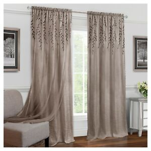 Willow-1-Window-Curtain-Panel-Toffee-Brown-42-X-63-034-Embroidered-Sheer