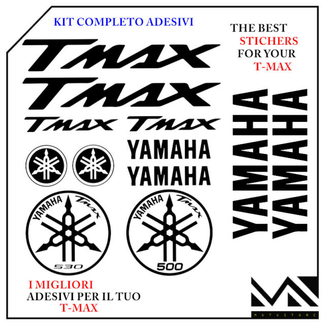 SERIE DI 12 PEZZI  ADESIVI YAMAHA TMAX  T- MAX 530 ANNO 2012 2013 COLORE NERO
