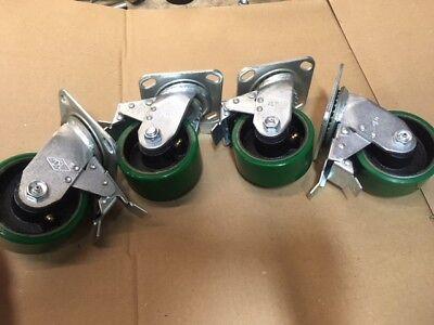 "Set of 4 Tool Box 900lb//each 4/"" x 2/"" Swivel Polyurethane caster with Brake"