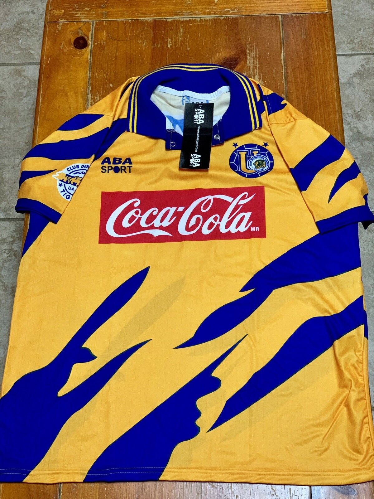 TIGRES HOME SOCCER JERSEY ABA SPORT 1994 Dimensione LARGE