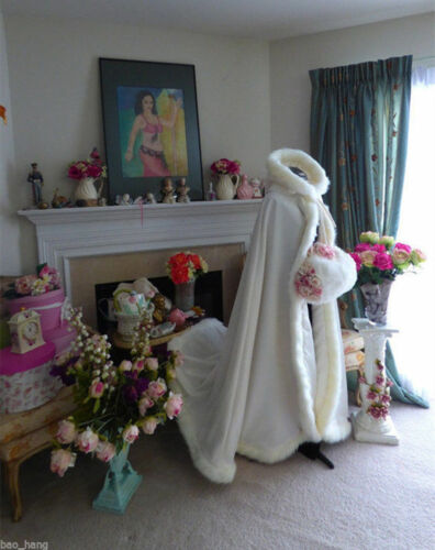 Winter Long Faux Fur Cape Wedding Cloaks Bridal Kids Flower Girls Retro Shawls