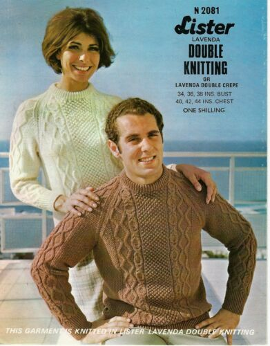 "1730  Ladies Mens DK Cable Sweaters  34-44/""  Vintage Knitting Pattern"
