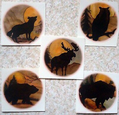 "Bear Moose Buffalo Wolf Owl 2 7/8"" Select Animal Waterslide Ceramic Decals Tx"